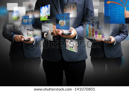 hand holding business world - stock photo