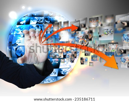 hand holding business world. - stock photo