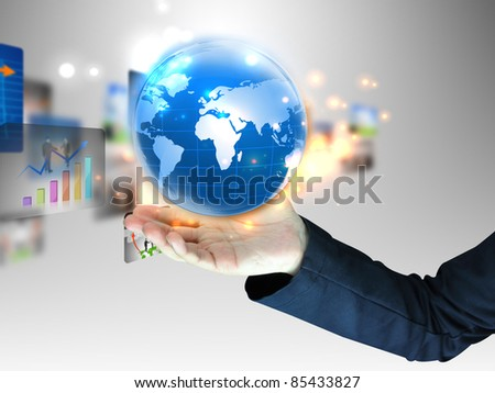 hand holding business world