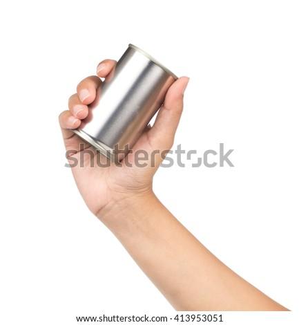hand holding can aluminum isolated on white background - stock photo