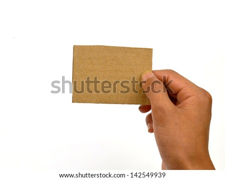 hand holding card with on white background - stock photo