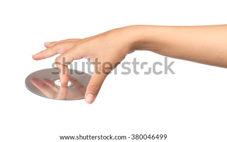 hand holding CD DVD isolated on white background