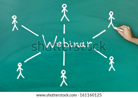 Hand holding chalk drawing webinar concept on green blackboard - stock photo