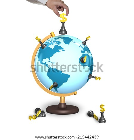 hand holding chess with terrestrial globe isolated on white - stock photo