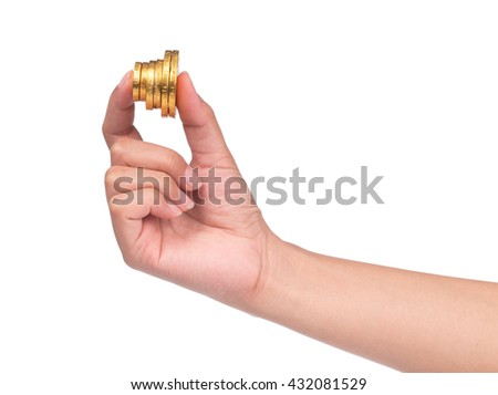 hand holding chocolate gold coin and bar isolated on white background - stock photo