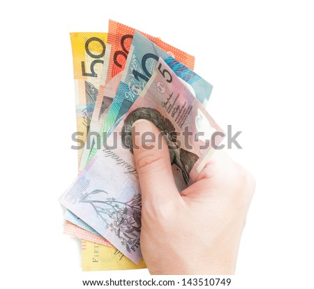 Hand holding circulated Australian polymer money and isolated on white - stock photo