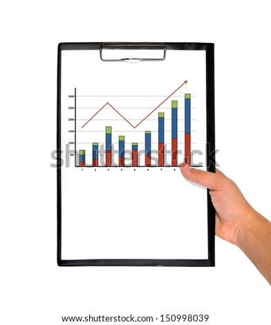hand holding clipboard with chart on a white background