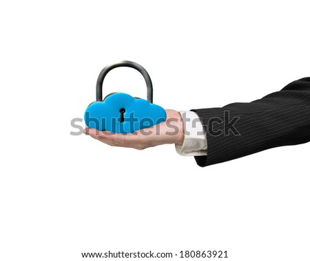 Hand holding cloud shape lock isolated in white background - stock photo