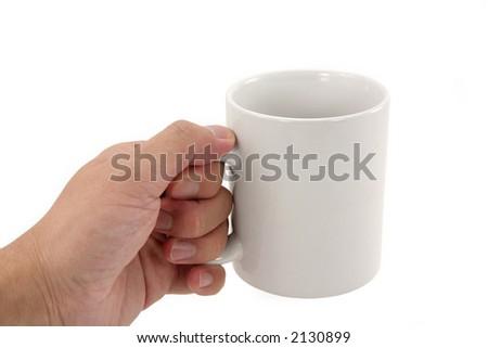 hand holding coffee mug with white background - stock photo