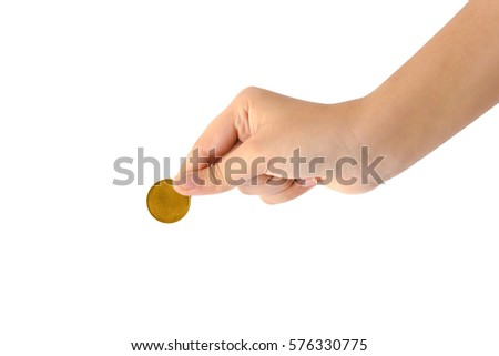 Hand Holding Coin isolated on white background