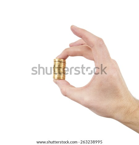 hand holding coins - stock photo