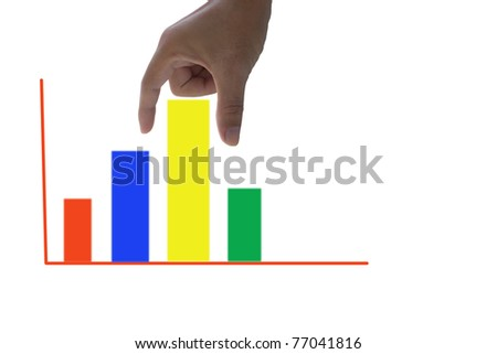 hand holding colorful graph - stock photo