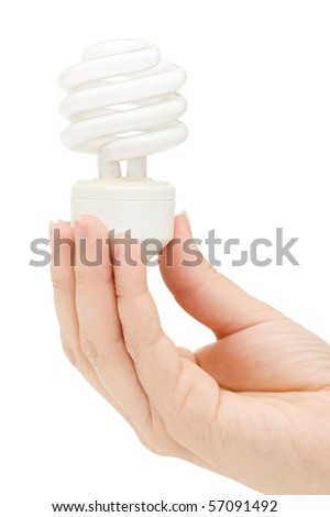 Hand holding compact spiral-shaped fluorescent lamp in hand isolated on the white background - stock photo