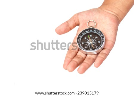 Hand holding Compass isolated on white background - stock photo