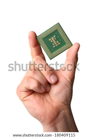 Hand holding computer processor chip, cut out on white background - stock photo