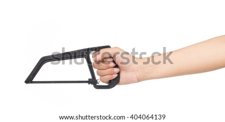 Hand holding Coping saw isolated on white background