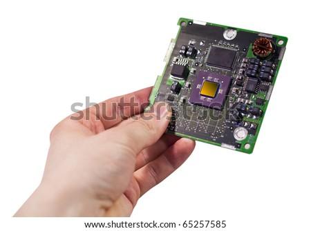 Hand holding CPU card - stock photo