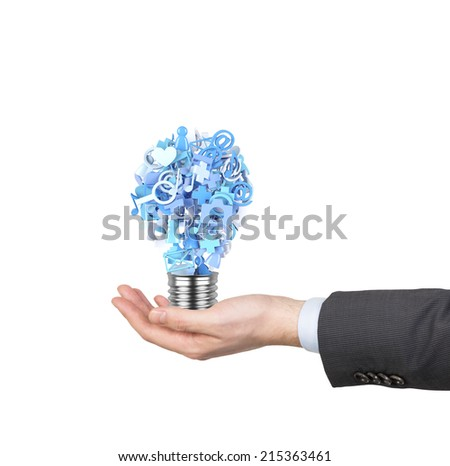 Hand holding creative idea with colorful application icon, A concept of business software and social media networking service. Blue color gamma. - stock photo