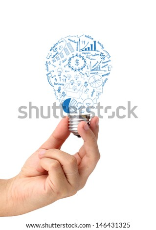 Hand holding creative light bulb idea with drawing charts and graphs business strategy plan concept, isolated on white background - stock photo