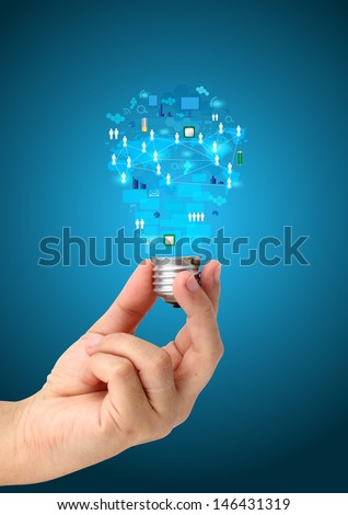 Hand holding creative light bulb idea with technology business network process diagram concept idea - stock photo