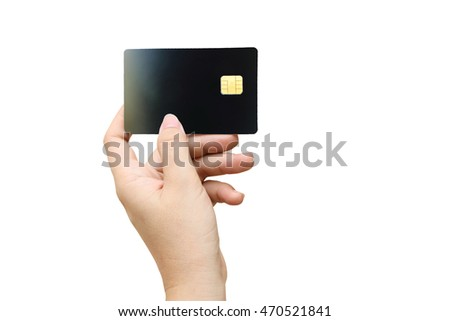 hand holding credit card  ,isolate white background with clipping path