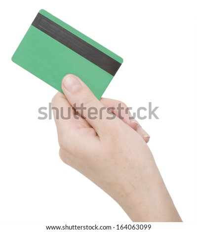 hand holding credit card isolated on white - stock photo