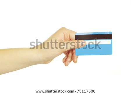 hand holding credit card isolated on white