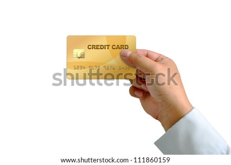 hand holding credit card isolated on white with Clipping Part - stock photo