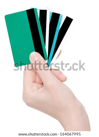 hand holding credit cards isolated on white - stock photo