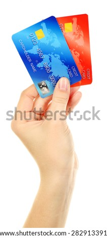 Hand holding credit cards, isolated on white - stock photo