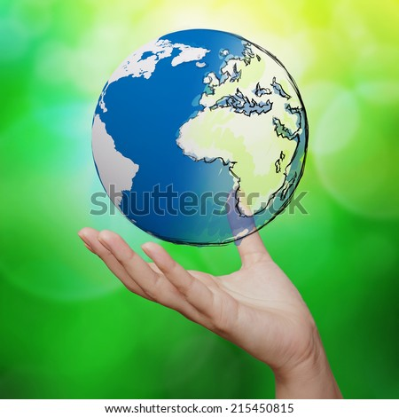hand holding 3d earth globe against blue and green nature background  - stock photo