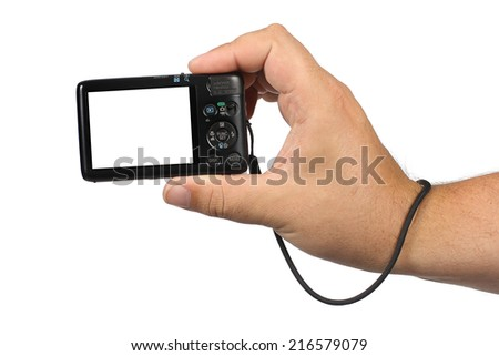 Hand holding digital camera with a white screen on a white background (insert your image or text in the camera) - stock photo