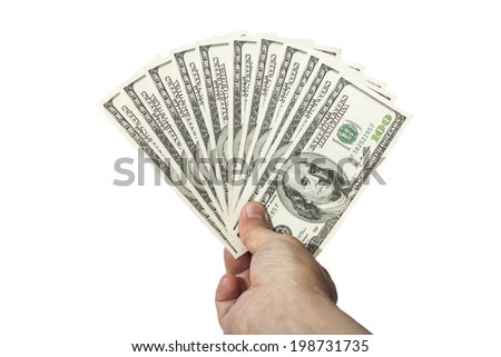 hand  holding 100 dollar banknotes money isolated on white background