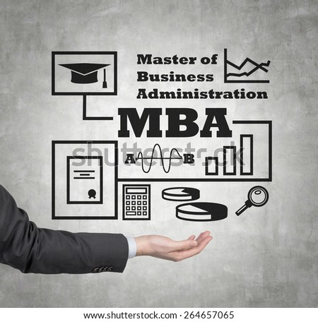 hand holding drawing mba scheme, close up - stock photo
