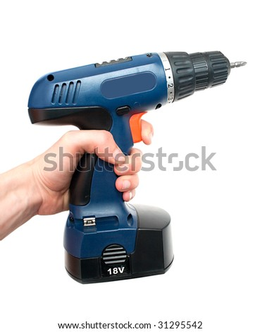 hand holding drill on a white - stock photo
