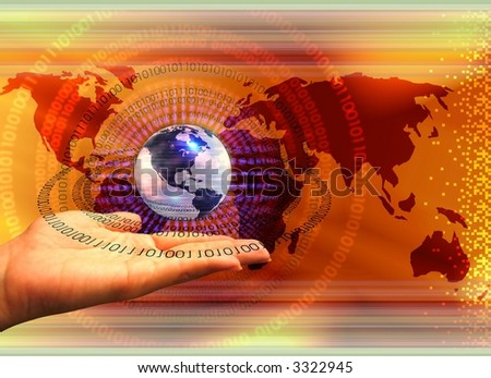 Hand holding earth globe with binary data leaks flowing - stock photo