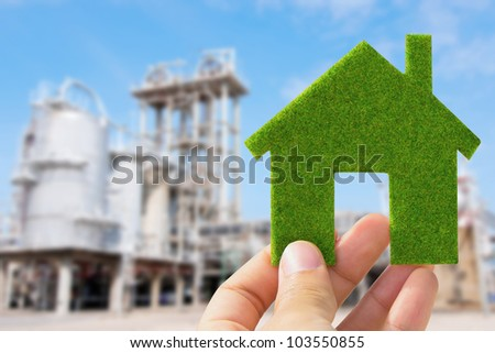 hand holding eco house icon, save energy concept - stock photo
