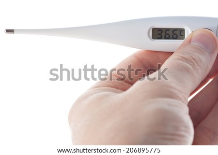 Hand holding electronic thermometer isolated on white background