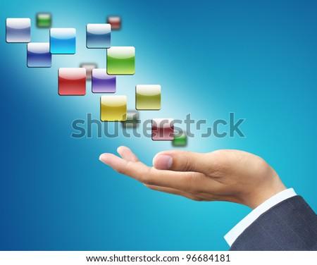 Hand holding empty icon - stock photo