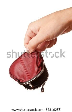 Hand holding empty wallet, isolated on white - stock photo