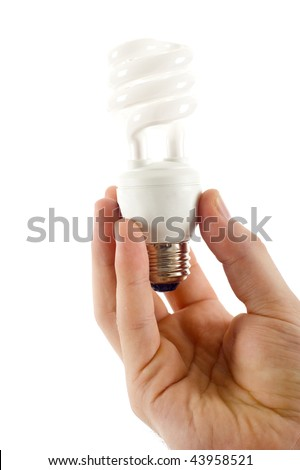 Hand holding energy efficient light bulb