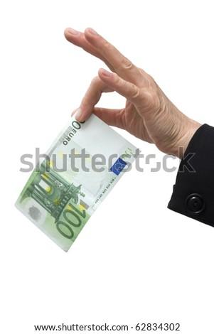 hand holding 100 euro - stock photo