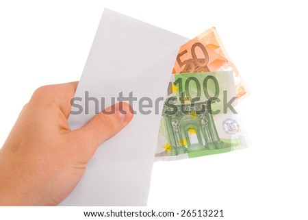 Hand holding euro money in envelope. Isolated.