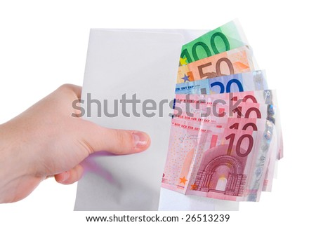 Hand holding euro money in envelope. Isolated. - stock photo