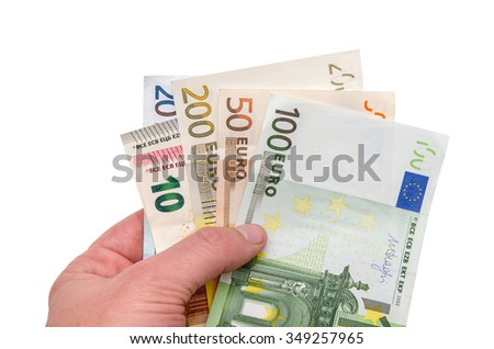 hand holding euro money isolated