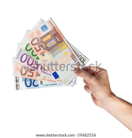 Hand holding european bank notes isolated on white background