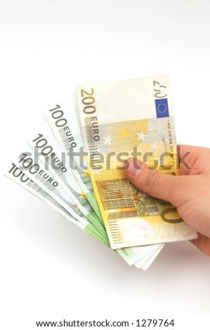 hand holding euros - stock photo