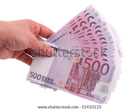 Hand holding euros on a white background