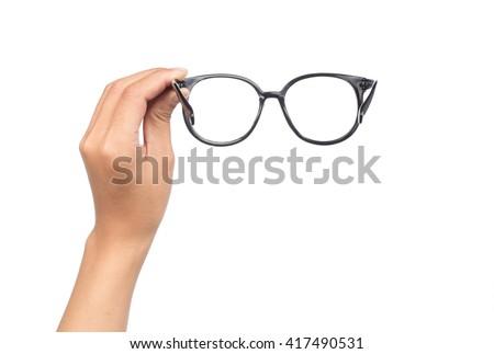 hand holding Eye Glasses Isolated on White background - stock photo