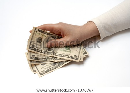 Hand Holding Fan of American Money - stock photo
